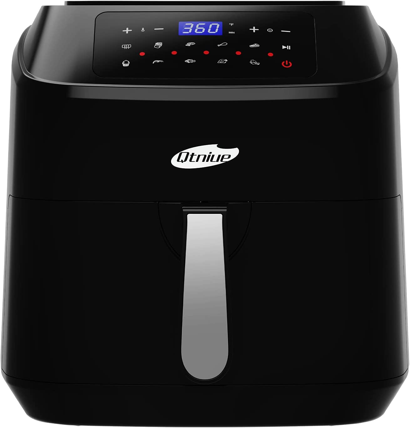 Air Fryer, Qtniue 8.0 Quart Electric Hot Oven, 10 Presets Electric Air Fryers Oven with Preheat, Touch Screen LED, Adjustable Time Temperature, Non-Stick Stainless Steel, Dishwasher Safe BPA Free-580D