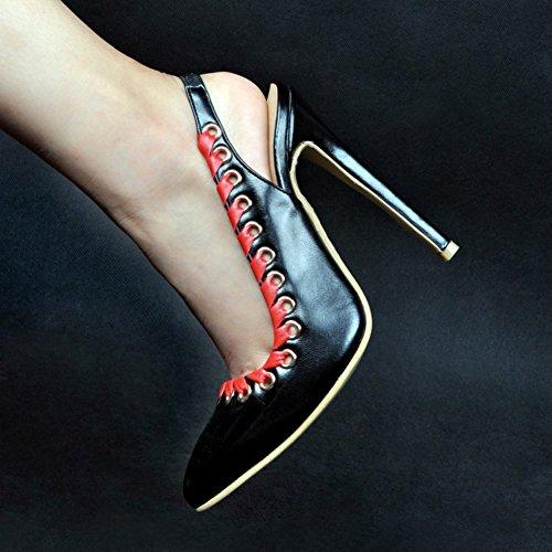 Kolnoo Damen Faschion 10cm Allimase Stil Slingback Ösen Getrimmte High Heel Sandalen Black