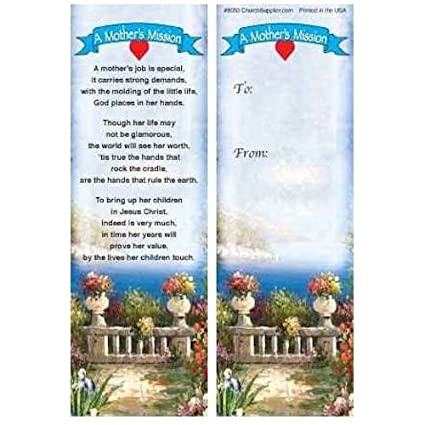 Amazon Com Mothers Mission Christian Bookmarks Set Of 50 Mom