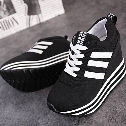 Pp Mode Klassieke Dames Lage Top Verborgen Hiel Canvas Anti-slip Platform Sneakers Zwart