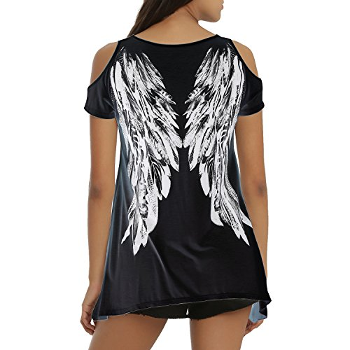 Tulucky Womens Fashion Angel Wing Loose T Shirts Cutout Shoulder Irregular Tops (XXL, Black)