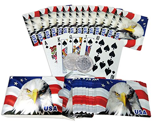 Big Texas Mall Silver American Flag Poker Playing Cards w/Gold Plated Collectible Bitcoin Coin for Place Setting Cards Professional Quality American Flag & Eagle Foil Plated Prestige Set