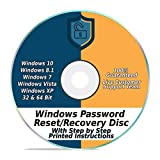 Software : Windows Password Reset Recovery Disk Windows 10, 8.1, 7, Vista, XP #1 Best Unlocker Remove Software CD DVD (For All PC Computers)