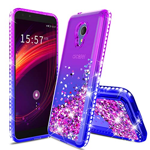 Alcatel 1X Evolve Case/Alcatel IdealXtra/Alcatel TCL LX Glitter Liquid Quicksand Floating Shiny Sparkle Flowing Bling Diamond Luxury Clear Cute Case Cover for Girls Women Purple/Blue