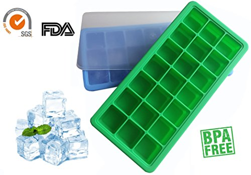 SILICONE ICE CUBE TRAYS with LIDS Easy Pop Release Flexible Plastic Storage Containers, 42 Molds (Set of 2 x 21 Cubes), BPA Free, BLUE & GREEN, Best for Whiskey Cocktails, Great Gift for Kitchen