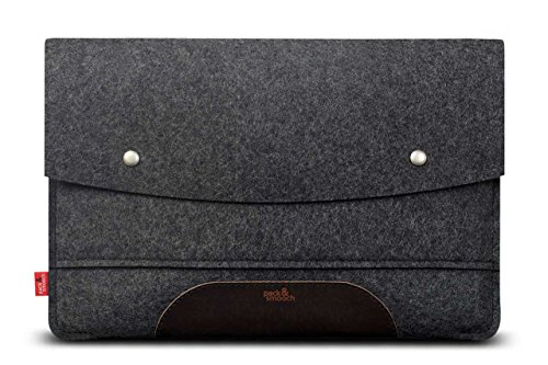 "Pack & Smooch Hampshire Tablet Case Sleeve - Compatible with iPad Pro 12.9"" with Smart Keyboard Folio Cover - Made with 100% Merino Wool Felt and Vegetable Tanned Leather (Dark Grey/Dark Brown)"