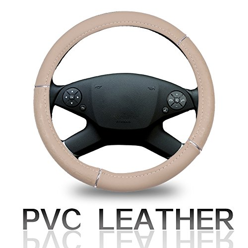 ECCPP Steering Wheel Cover 15 Inch Universal Leather Car Steering Wheel Cover - Beige