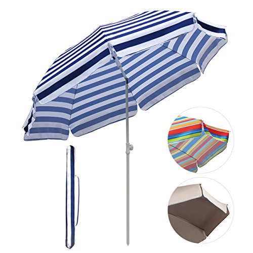 SekeyØ7ft beach umbrella blue white stripes outdoor umbrella blue white stripes outdoor patio umbrella outdoor market umbrella blue white stripes, with tilt and crank, round sunscreen UV25+ (Outdoor Beach Umbrella)