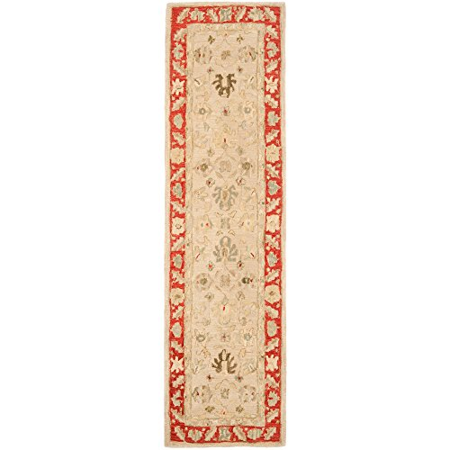 Safavieh Anatolia Collection AN569A Handmade Traditional Oriental Taupe and Red Wool Runner (2'3