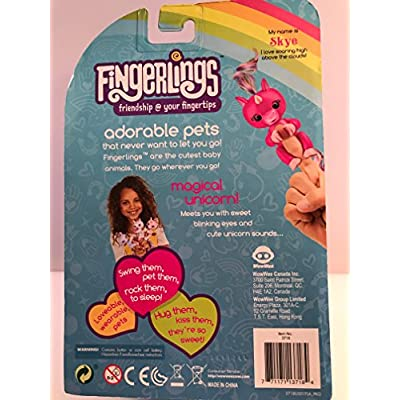 WowWee (WOWWM)   Fingerlings Baby Unicorn Skye (Hot Pink With Rainbow Mane And Tail) - Friendly Interactive Toy By Wow wee, Hot Pink: Toys & Games
