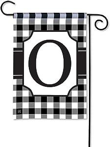 BreezeArt Studio M Black & White Check Monogram O Decorative Garden Flag – Premium Quality, 12.5 x 18 Inches