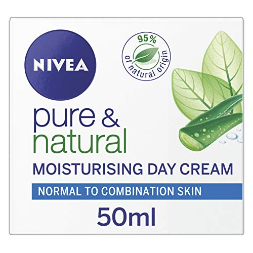 NIVEA Pure & Natural Face Cream for Normal and Combination Skin, 50 ml, Pack of 3 (Nivea Pure And Natural Day Cream Ingredients)