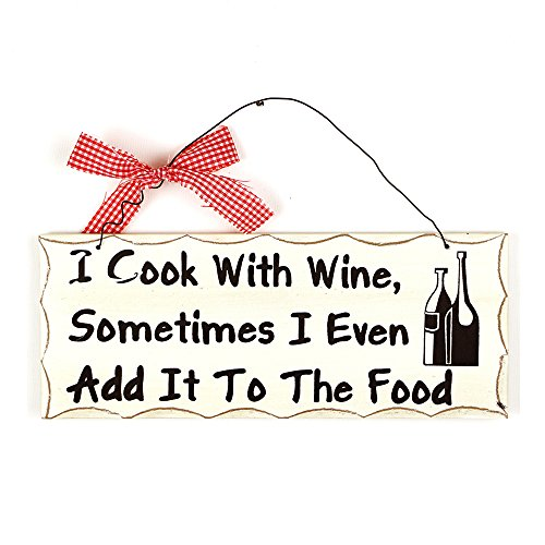 YK Decor Cook with Wine Wood Sign Decorative Wall Plaques Hanging Wooden Signs for Home Decor (Cook with Wine) ()