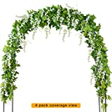 Mavee 4 Pcs 7.2 Feet Artificial Flower Vine Silk Wisteria Garland Hanging Rattan with Ivy Leaf for Wedding Home Decoration (White)