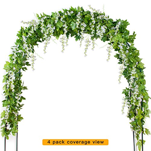 Mavee 4 Pcs 7.2 Feet Artificial Flower Vine Silk Wisteria Garland Hanging Rattan with Ivy Leaf for Wedding Home Decoration (White) by Mavee MP