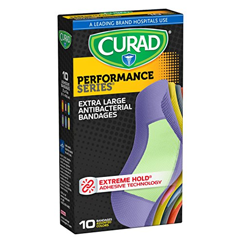 Curad Performance Series Extreme Hold Antibacterial Fabric Bandages, Assorted, X-Large, 10 Count