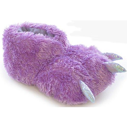 Childrens Big Girls Yeti Glitter Claw Boot Slippers (1-2 Child US) (Purple)