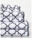 HomeCrate Irongate 600 GSM 100% Cotton 6 Piece Towel Set - White/Silver - Hotel Quality, Super Soft and Highly Absorbent
