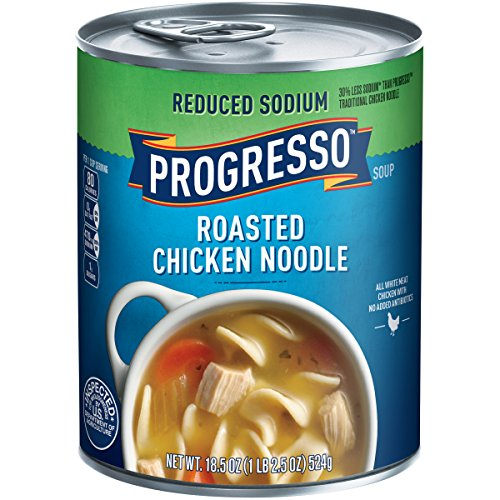 Progresso Soup, Reduced Sodium, Roasted Chicken Noodle Soup, 18.5 oz Cans (Pack of 12)