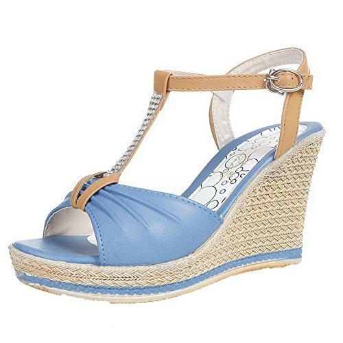 Aalardom Femmes Bout Ouvert Talons Hauts Matériaux Souples Sandales À Boucle Solide Bleu