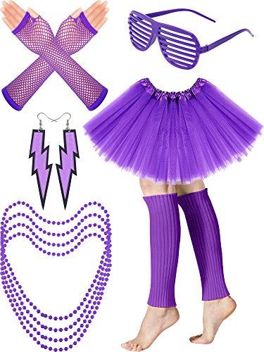 Women's 80s Costume Accessories Set, Adult Tutu Skirt, Leg Warmers, Fishnet Gloves, Earrings Necklace Shutter Glass (Purple) -