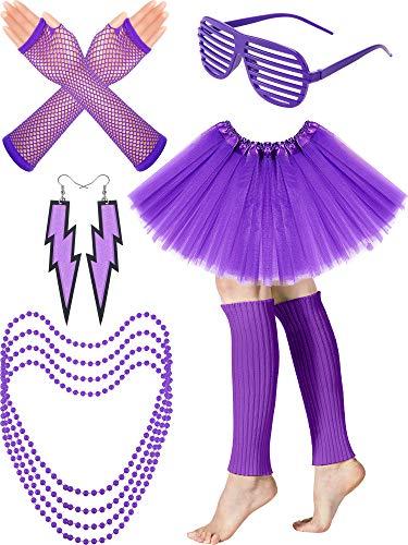 Women's 80s Costume Accessories Set, Adult Tutu Skirt, Leg Warmers, Fishnet Gloves, Earrings Necklace Shutter Glass (Purple)