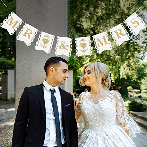 Unomor Lovely MR and MRS Banner Sign Golden Glitter Photo Props Wedding Party Bridal Decoration Engagement Decor 17.5 x 14CM