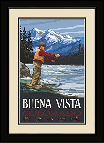 Northwest Art Mall Buena Vista Colorado Fly Fisherman Stream Mountains Framed Wall Art by Paul A. Lanquist, 13 by - Mall Buena Vista