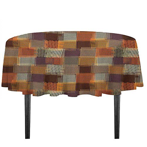 - kangkaishi Geometric Leakproof Polyester Tablecloth Grunge Checkered and Striped Quilt Pattern Mottled Digital New Retro Design Outdoor and Indoor use D43.3 Inch Caramel Orange