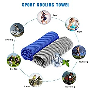 Idefair Cooling Towel, Ice Cold Towel Use for Neck Headband Bandana Evaporative Chilly Towel for Yoga Gym Fitness Ball Games Workout Travel Outdoor Sport and More 36×12 inch,2 Pack
