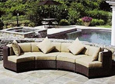Outdoor Patio Furniture Sofa Sectional Wicker Round Resin Couch Set (Tan) (Outdoor Round Sectional Furniture)