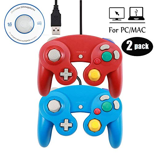 Mekela 2 Packs 5.8 feet Classic USB Wired NGC Controller Gamepad resembles Gamecube for Windows PC MAC (USB Red and Blue)