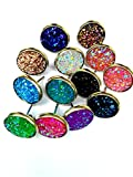20pairs per lot , Faux Druzy Stone Stud Earrings for Women and Teens (multi)