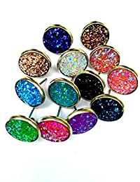 20pairs per lot , Faux Druzy Stone Stud Earrings for Women and Teens
