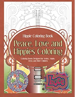 hippie coloring book peace love and hippies coloring coloring books designed for artists - Hippie Coloring Book