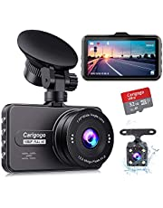 Carigogo Dash Cams for Cars Front and Rear with 32g SD Card Included, FHD 1080P Dash Cameras with F1.8 Night Vision Dashcam 170°Wide Angle Car Camera, Loop Recording, G-Sensor, Parking Monitor, WDR
