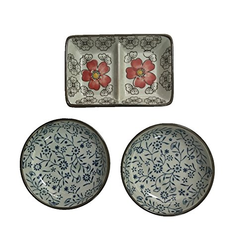 TtoyouU Pack of 3 Ceramic Porcelain Sauce Dishes,Condiments Dishes
