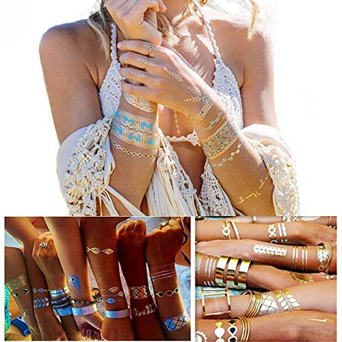 Metallic Temporary Tattoos for Women Boho Henna - Over 85 +, Gold and Silver (7 Sheets) Mandala Mehndi Designs Jewelry Tattoos (style 2)