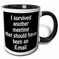 3dRose 218472_4 I I Survived Another Meeting That Should Have Been An Email Mug, 11 oz, Black