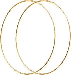 Sntieecr 2 Pack 14 Inch Large Metal Floral Hoop Wreath Macrame Gold Hoop Rings for Making Wedding Wreath Decor, Dream Catcher and Macrame Wall Hanging Craft