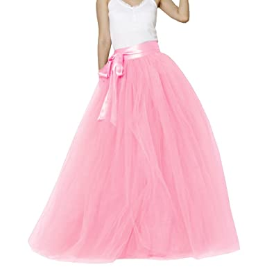 8e7dffa23 Amazon.com: Lisong Women Floor Length Bowknot 5-Layered Tulle Party Evening Tutu  Skirt: Clothing