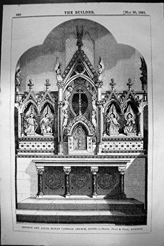 - old-print Print Reredos Altar Roman Catholic Church Dover Pugin Pugin Architecture 1881 668L140