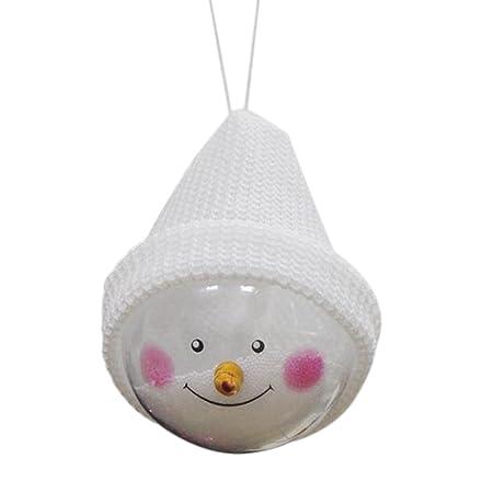 Blanco Gysad Forma de mu/ñeco de nieve Bola de navidad Interesante y lindo Bola de navidad personalizada Diferente de los demas Adornos arbol de navidad size 15cm*8cm