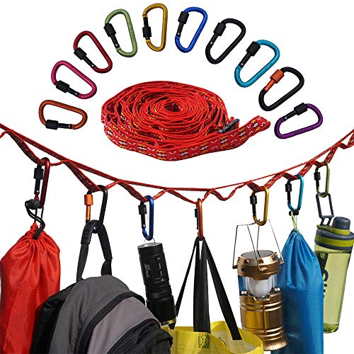 Acenilen 3-Meter Camping Lanyard with 10 Keychain Carabiners, Portable Camping Hanging Rope with Hooks for Camping, Hiking, Outdoor Tent Accessories
