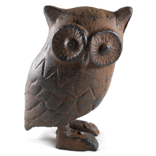 Cast Figurine Iron - Cast Iron Owl Figurine 4.5 Inches Tall by MGS