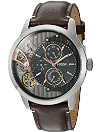 Fossil Mens ME1163 Townsman Twist Multifunction Dark Brown Leather Watch
