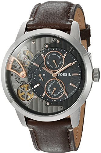 - Fossil Mens ME1163 Townsman Twist Multifunction Dark Brown Leather Watch