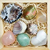 Premium Grade Crystals and Healing Stones in Wooden Box for Fertility, New Moon, Meditation - Rose Quartz, Unakite, Rhodonite, Moonstone, Occo Geode, Selenite + Gemstones Guide/Instructions, Gift Kit