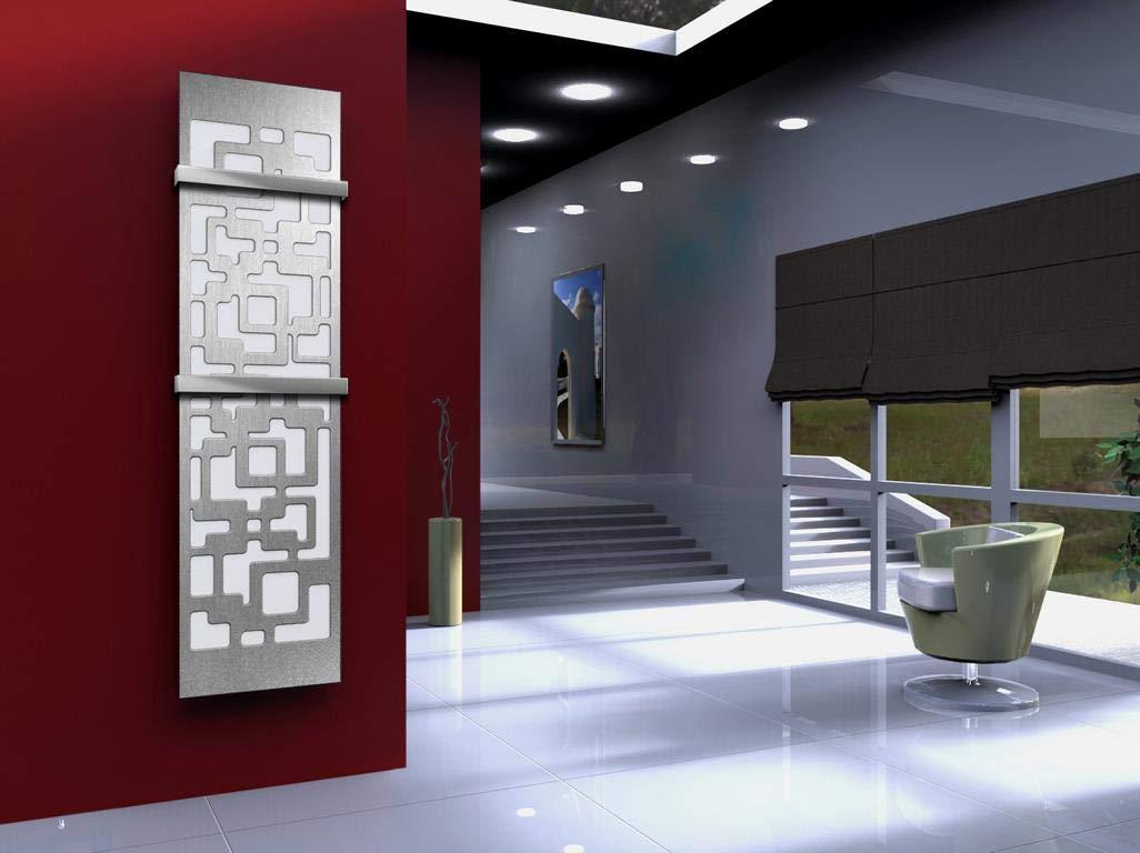 1118 Watt Marke: Szagato metallic Badheizk/örper Design Downtown 3 wei/ß // dunkelgrau HxB: 180 x 47 cm Made in Germany // moderner Bad und Wohnraum-Heizk/örper Mittelanschluss