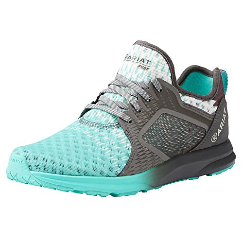Ariat Women's Fuse Athletic Shoe, Turquoise Gray Ombre Mesh, 7 B US